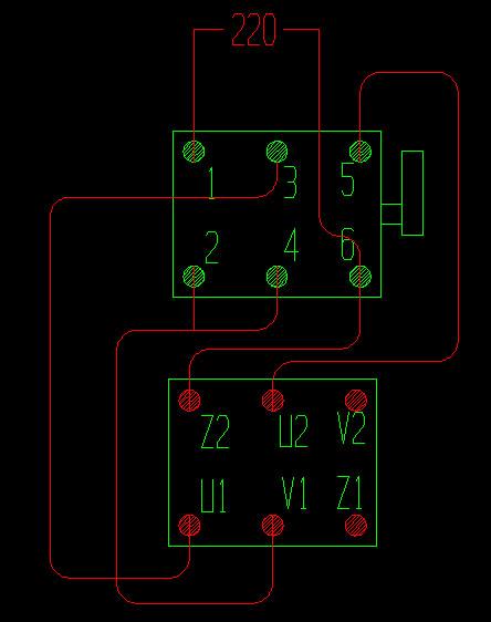 ∞单相电机倒顺开关接线图来一张图片