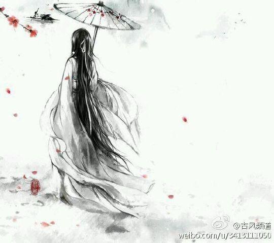 古风手绘图片,长头发是铺在地上的长度,应该是背影,男女忘了