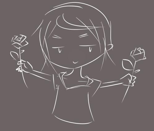 动漫人物手捏玫瑰花图片,注意是捏,怎么画?