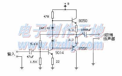 9013,8550其中一个)三极管做一个简易话筒前置放大电路.