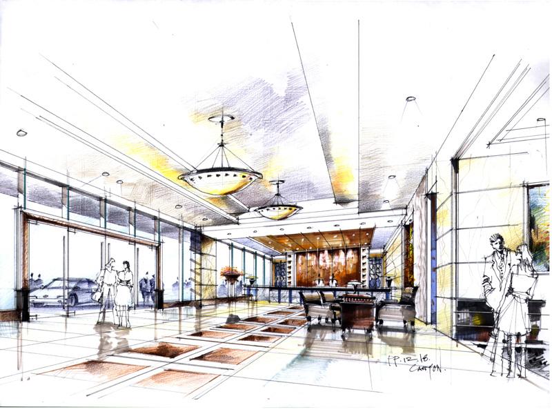 求一份酒店大堂 手绘效果图两张 包括大堂吧 和休息区