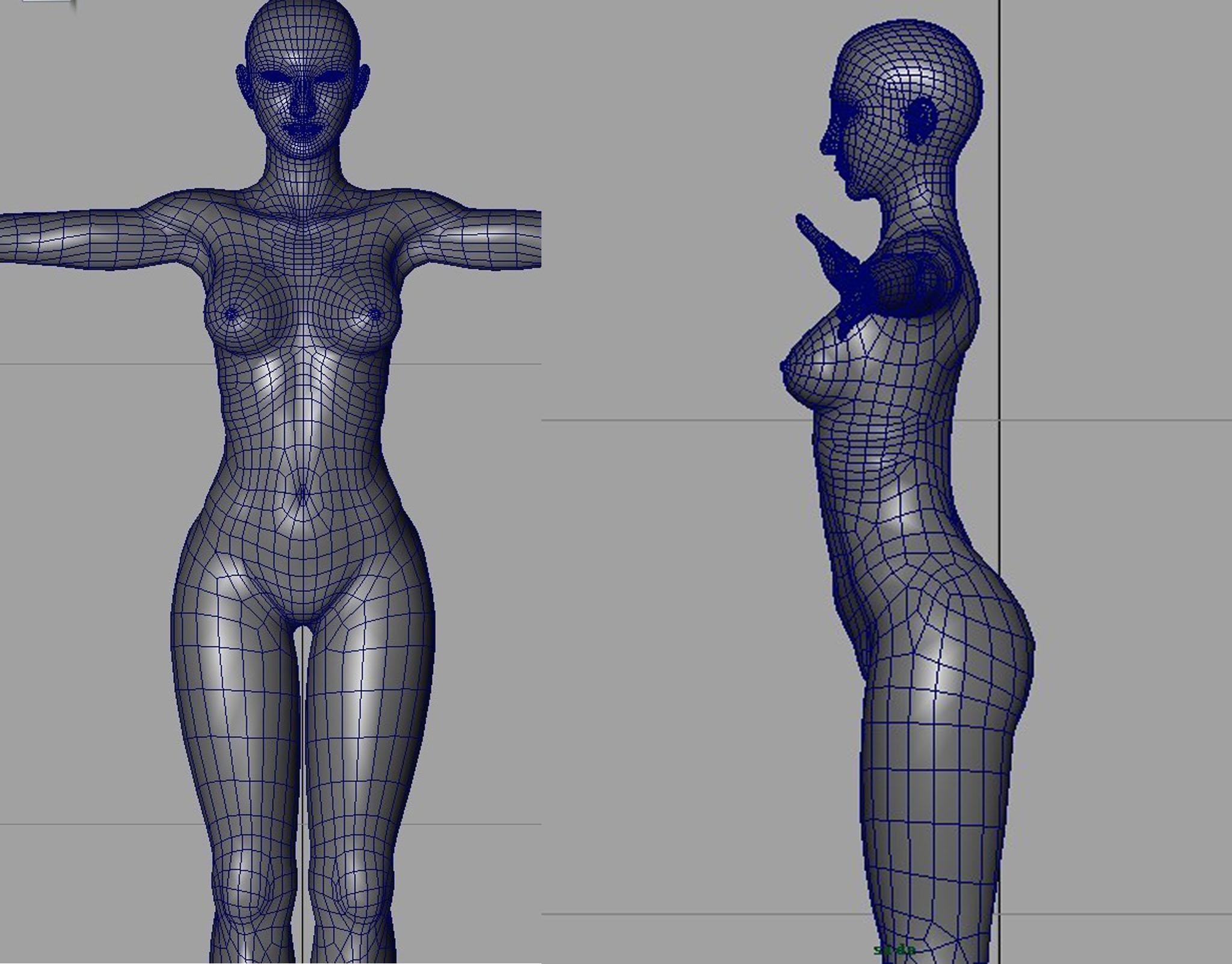 求maya写实女性角色模型正面和侧面布线图