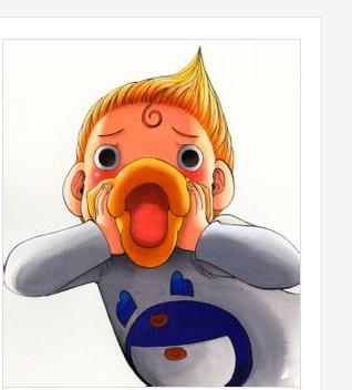 一个卡通黄色张大嘴小人图片