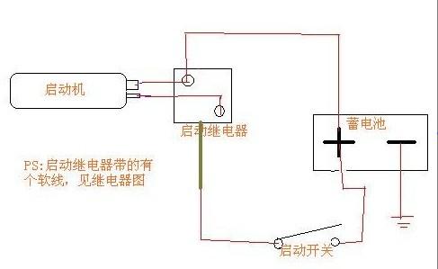 单缸柴油机电启动接线图,问这种启动继电器接法可对?不要不会乱说呀.