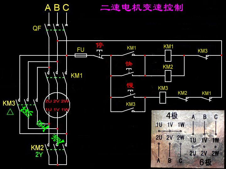 设计4/2极双速电动机的控制电路,控制要求如下