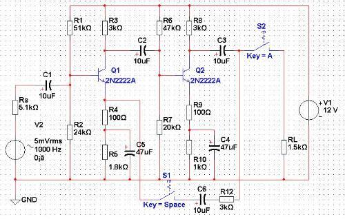 三极管单级放大电路图