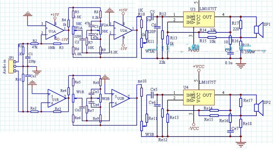 求用2个lm1875和5532集成块组成的的功放电路图