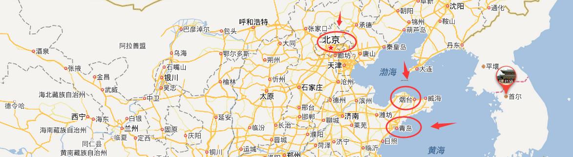 青岛 北京 烟台 的地图位置