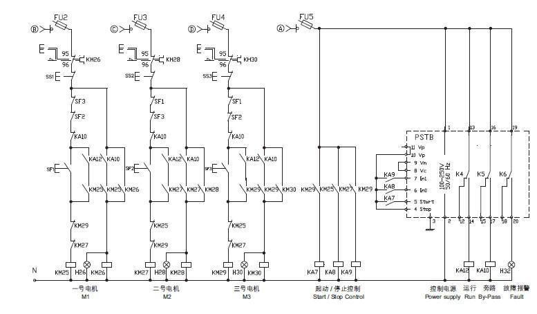 求软启动器控制双速风机原理图?