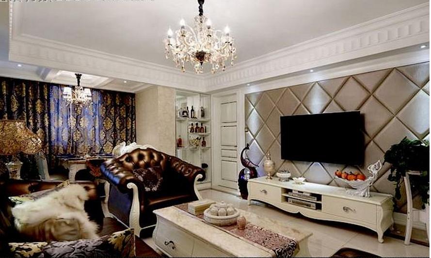 家里是欧式风格,电视背景墙做的三公分菱形软包,两边框宽0.