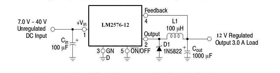 按照数据手册中的典型应用电路连接外围元件即可,lm2576-12的外围电路