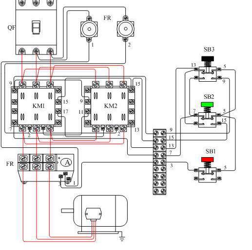 补充交流接触器接线图: 1,正向启动:合上空气开关qf接通三相电源;按