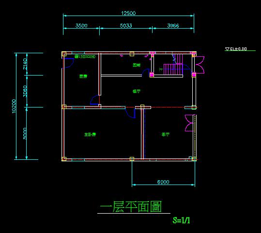 两间房子设计图楼梯在堂厅长12米宽7,6米