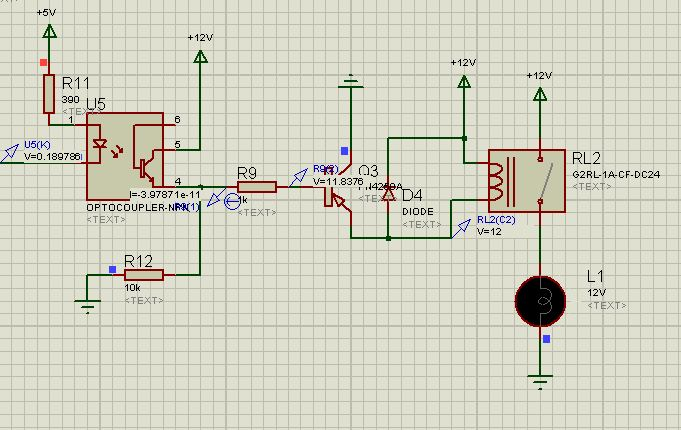 proteus单片机通过光耦控制继电器,无法闭合