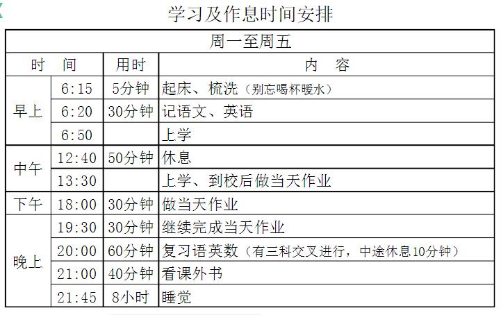 六年级学习计划+作息时间表