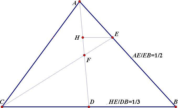 证明三角形中线与三等分线的交点把线比例分.图片