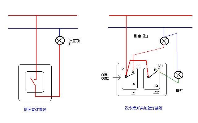 追答 是的,火线接双联开关的com1与com2,li接顶灯(原单联开关的回路