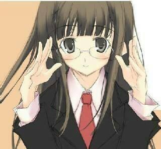 有没有卡通戴眼镜呆萌女生图片