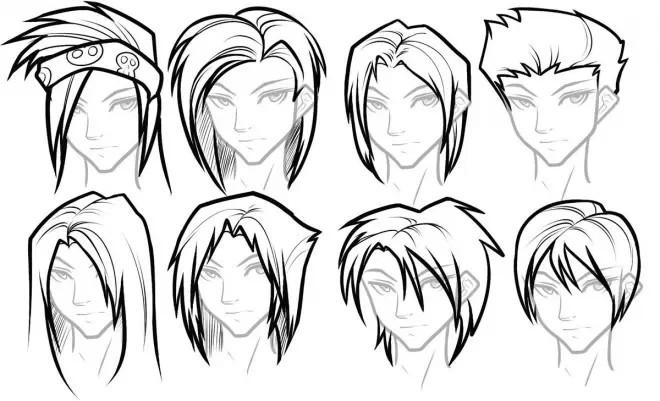 动漫男生发型简易画法图,求