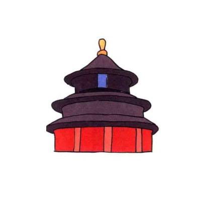 北京的名胜古迹简笔画(天坛)