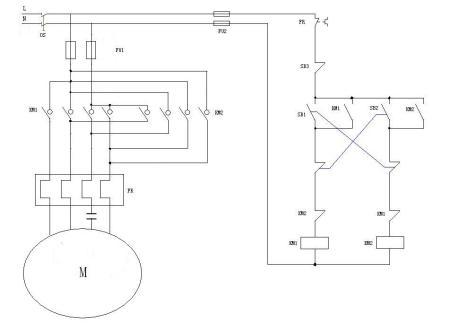 求单相电机用接触器控制正反转电路图? 电气元件