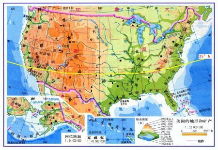美国地形剖面图 约沿北纬35度是哪里
