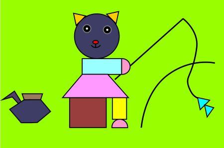 用三角形,圆形,正方形,梯形,长方形怎样拼成一座房子图片