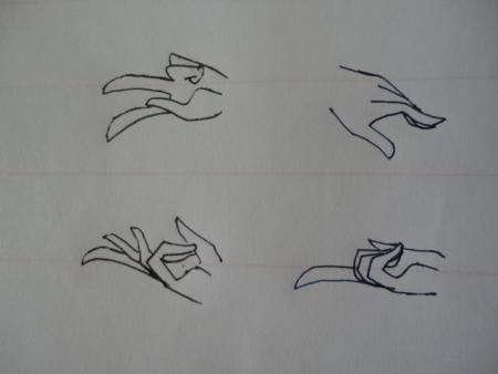 求动漫人物手势的画法的图,清楚一点,各种姿势