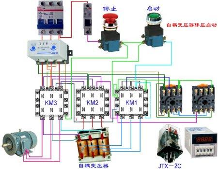 自耦降压启动和电机综合保护器,时间继电器的接线图