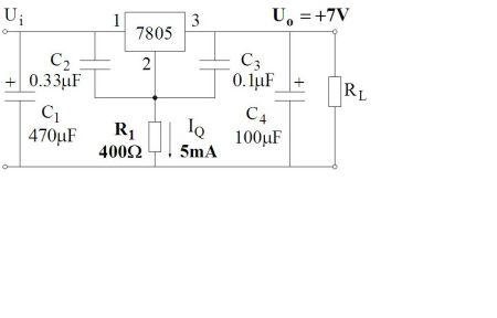 (1)求用三端集成稳压器7805升压成7伏电压原电流不变电路图