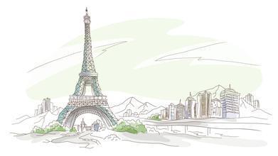 手绘埃菲尔铁塔简易版图片
