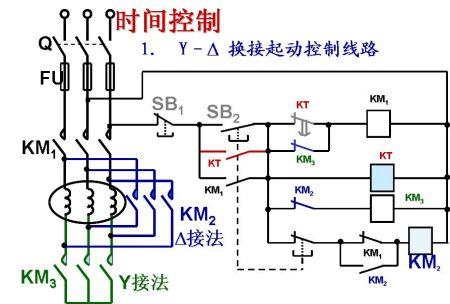 380v交流接触器星三角启动异步电动机接线图