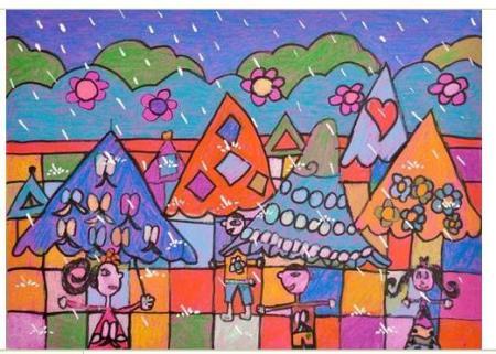 三年级美术作品《下雨了》画展图片