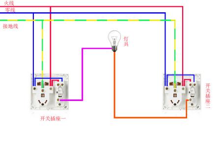 请问怎么接一灯双控开关?