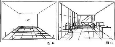3)在平面透视的边角点上作垂线,量出实际高度点连接完成室内透视(图