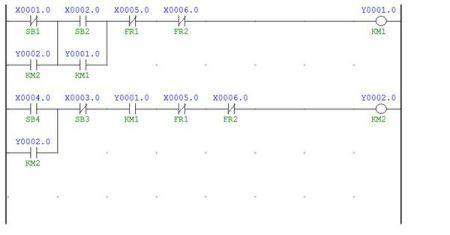 三台电动机顺序启/停控制电路与plc控制的梯形图