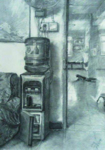 应该分析饮水机的形状,结构及明暗,按正常的素描步骤进行.