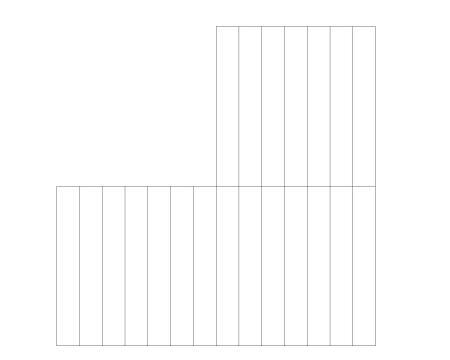 剩下三个小的正方形,然后把剩下的小正方形平均分成七份.