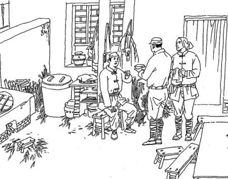 战争时期,八路军住的房子简笔画