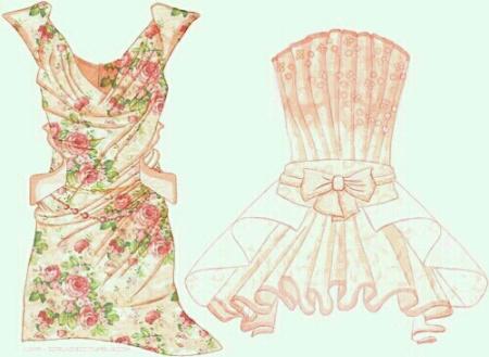 抽褶艺术晚礼服手绘图
