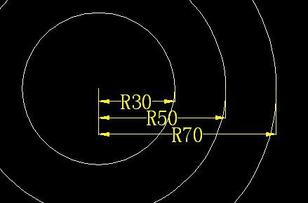 cad2010同时标注一组同心圆的半径或直径cad二次v同时流程图片