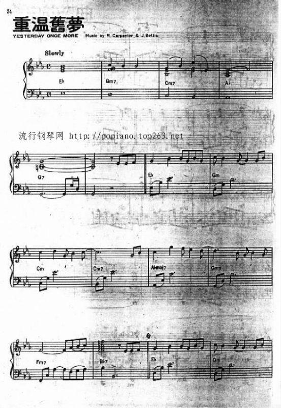 虫儿飞琶音伴奏钢琴谱c调-more yesterday-刚刚好钢琴谱原版 刚好遇见
