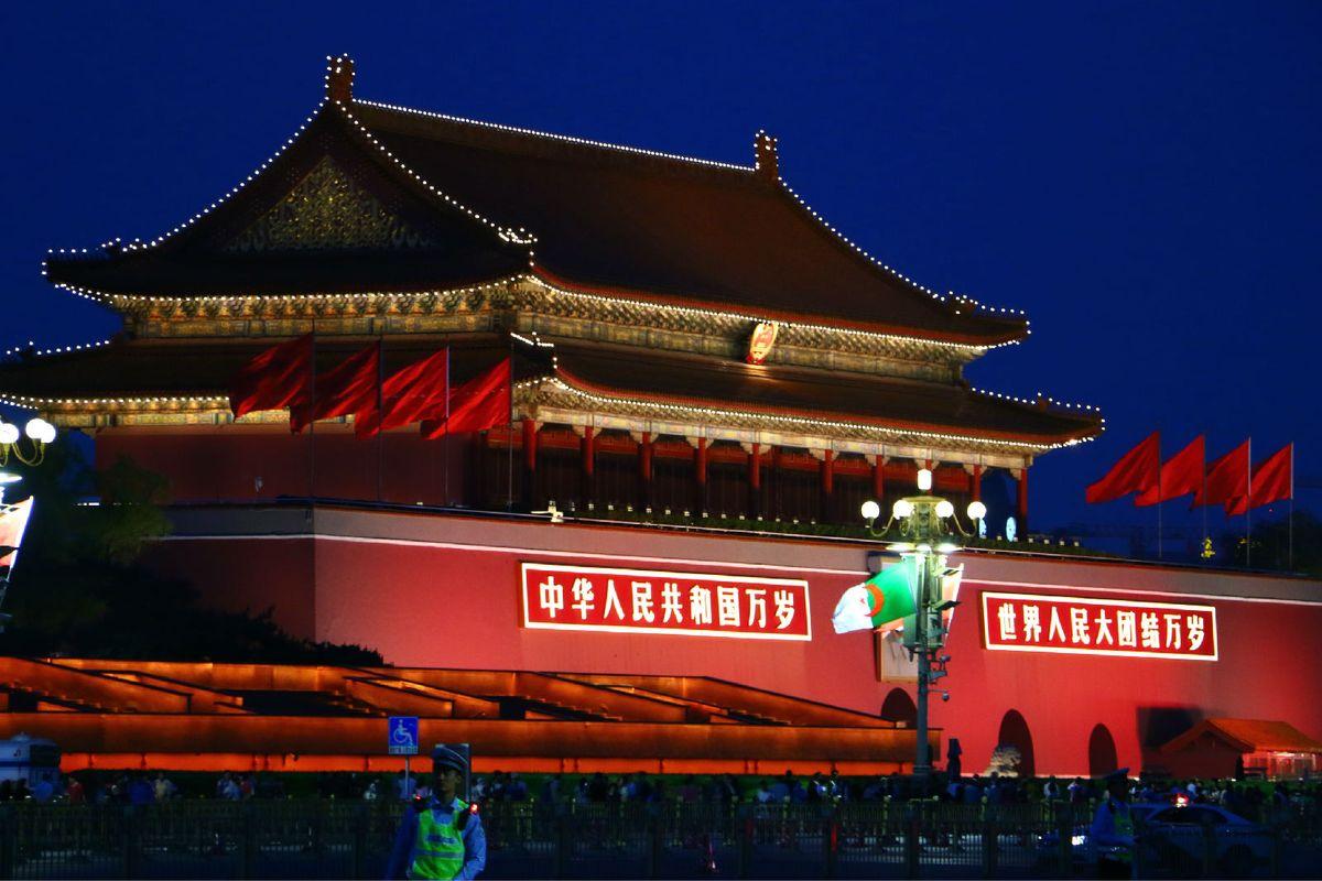 天安门夜景图片