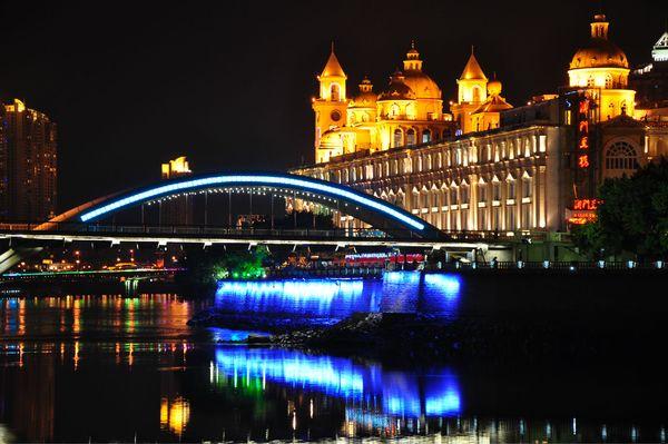 中洲岛夜景图片