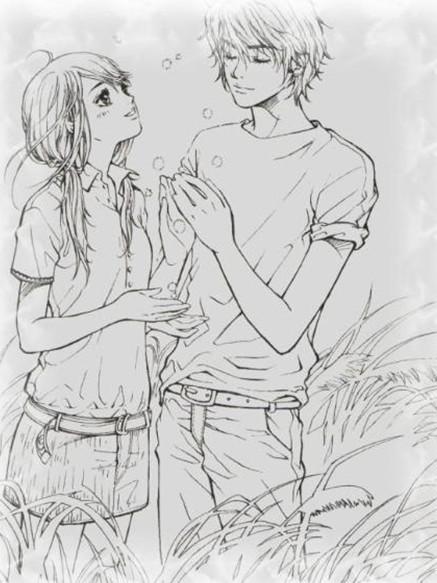 有哪些情侣的简单的简笔画