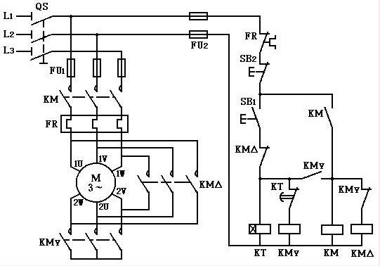 时间继电器自动控制星三角形降压启动电路