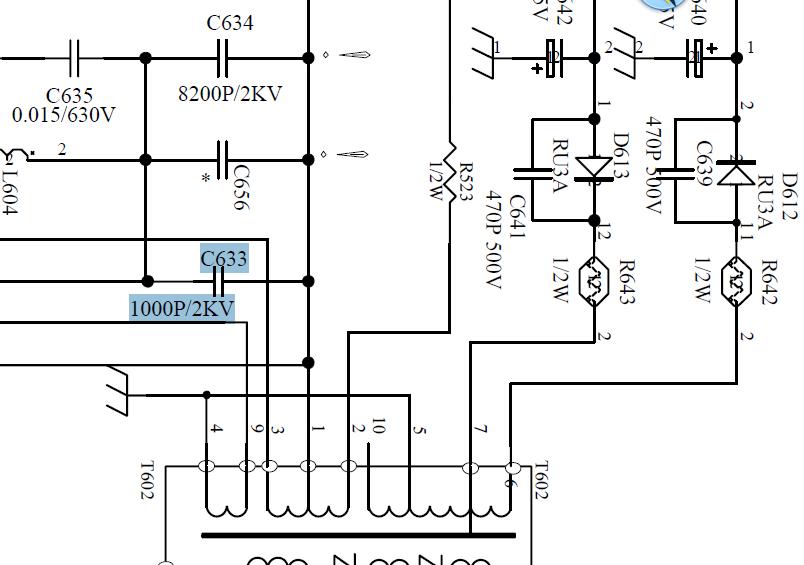 求海信d29fa3-c电视机里的c633电容参数