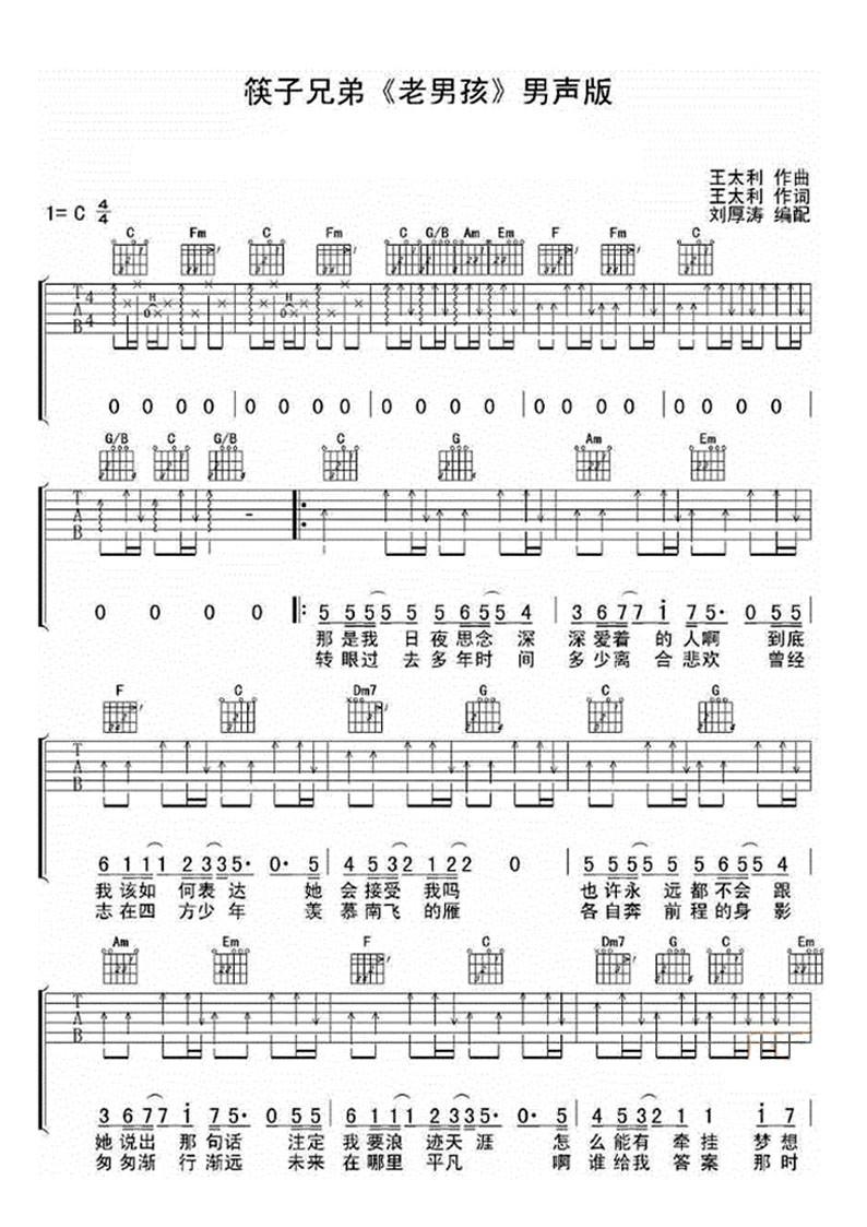 以下是《老男孩》吉他简谱