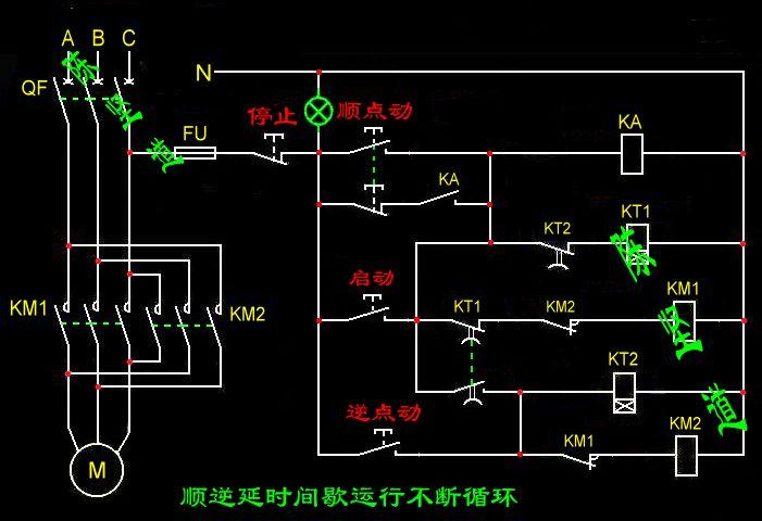 复位接线图,需要有:1个电源指示灯,1个点动正转按钮,一个点动反转按钮