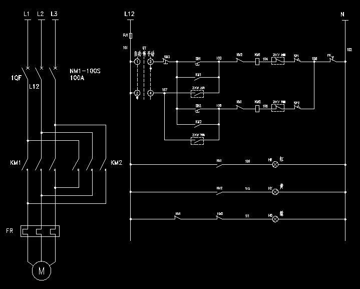 km1  km2控制电机正反转.右侧为二次电路.